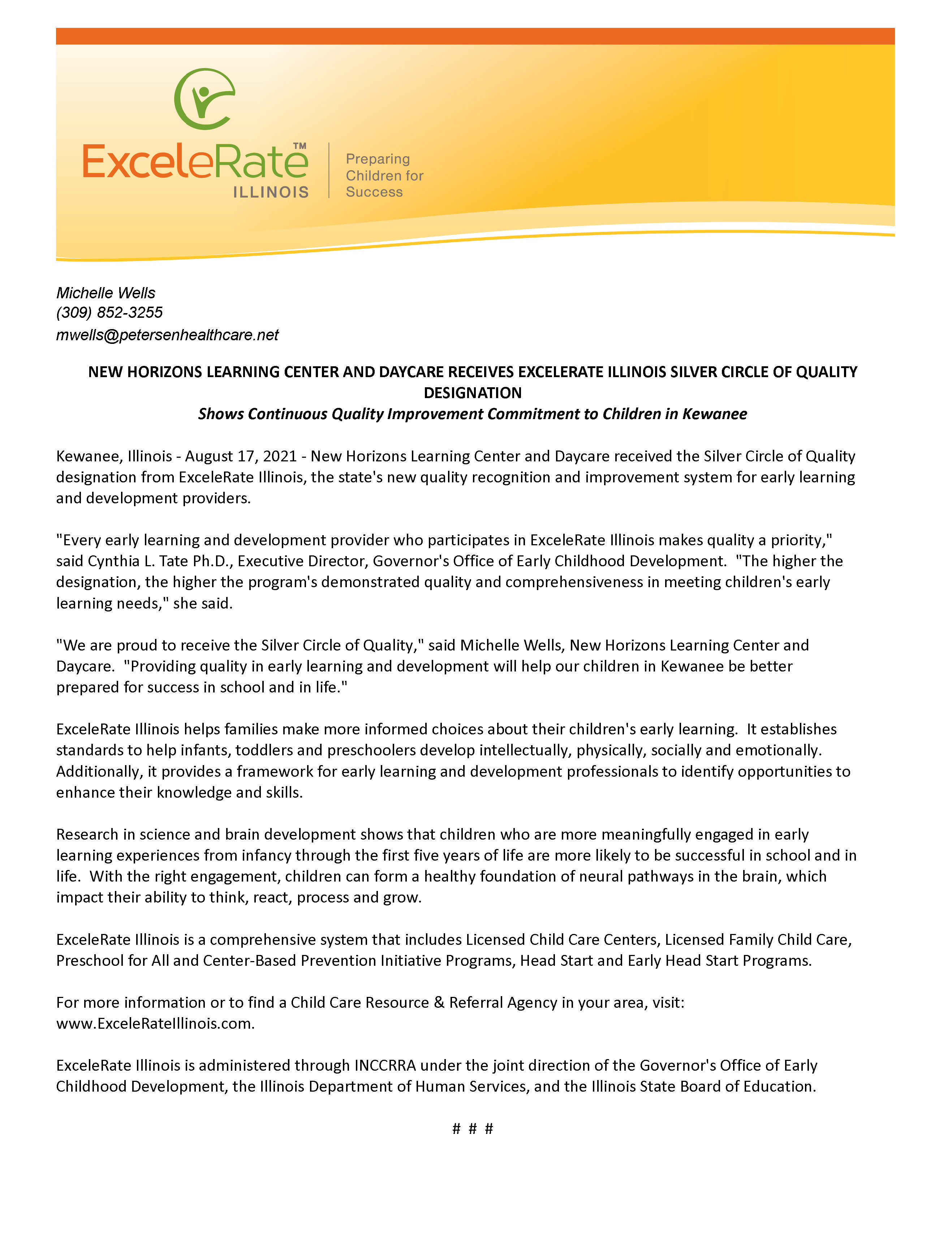 Press Release - NEW HORIZONS LEARNING CENTER AND DAYCARE